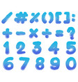 numbers and signs in blue color vector image