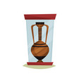 old ceramic amphora with two handles under glass vector image vector image