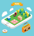 picnic in a park isometric objects on mobile phone vector image