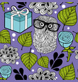 romantic background with smart owl and blue roses vector image vector image