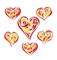 set hand drawn hearts vector image