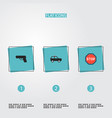 set of safety icons flat style symbols with suv vector image vector image