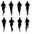 set of silhouettes runners on sprint man vector image vector image