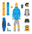 set of snowboarding gear clothing equipment vector image vector image