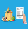 shopping bag with food and drinks receipt vector image vector image