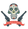 Sugar skull with guns Day of The Dead Vintage vector image