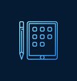 tablet with pencil blue linear icon on dark vector image vector image
