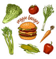 vegan vegetable burger sandwich ingredients vector image