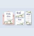 wedding floral invitation invite card design set vector image vector image