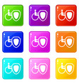 wheelchair and safety shield set 9 vector image vector image