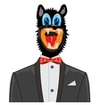 Wolf in suit with tie by butterfly vector image vector image