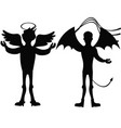 angel and demon silhouette isolated vector image