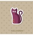 Black cat icon Halloween sticker vector image