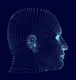 a man head made up many particles side view vector image vector image