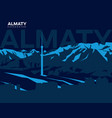 almaty mountains vector image