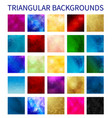 big set colorful triangular backgrounds vector image vector image