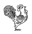 black line art hand drawn rooster vector image vector image