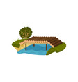 bridge made of tree logs small timber footbridge vector image