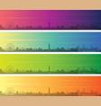 brisbane multiple color gradient skyline banner vector image