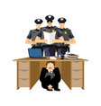 businessman scared under table of policemen vector image vector image