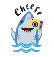 card cute shark with photocamera isolated on vector image vector image