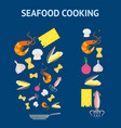 cartoon dish and ingredients set cooking seafood vector image vector image