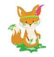 cartoon fox with an indian headdress made of vector image