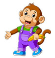 cartoon funny monkey waving hand vector image vector image
