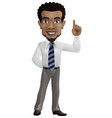 cartoon happy businessman pointing up vector image vector image
