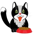 Cat and tureen with meal vector image vector image