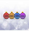 christmas card with snow flakes balls vector image vector image