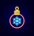 christmas decor ball neon sign vector image