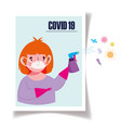 covid19 19 coronavirus boy with mask vector image vector image