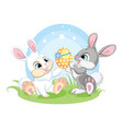 cute easter bunnies sitting on spring grass vector image vector image