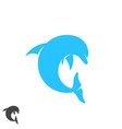 dolphin logo round shape jumping marine animal vector image