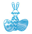 easter rabbit with festive egg traditional vector image vector image