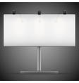 Empty wide mockup billboard with spotlights and vector image vector image