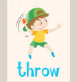 flashcard with boy throwing ball vector image