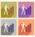 Flat with shadow icon concept man and stack of vector image vector image