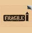 grunge fragile cargo box sign with arrows on paper vector image vector image
