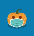 halloween pumpkin in anti-virus mask day vector image