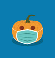 halloween pumpkin in anti-virus mask halloween day vector image