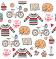 hand drawn seamless pattern with hygge elements vector image vector image