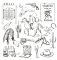 Hand drawn Wild West Collection vector image vector image
