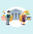 happy senior old people saving pension money vector image vector image