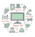 hotel service square concept - tv in room vector image vector image