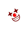joker or clown face logo template with simple icon vector image