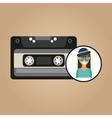 music cassette girl hipster vintage background vector image vector image