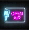 neon open air signboard with microphone in vector image vector image