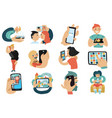 people with mobile phones set vector image